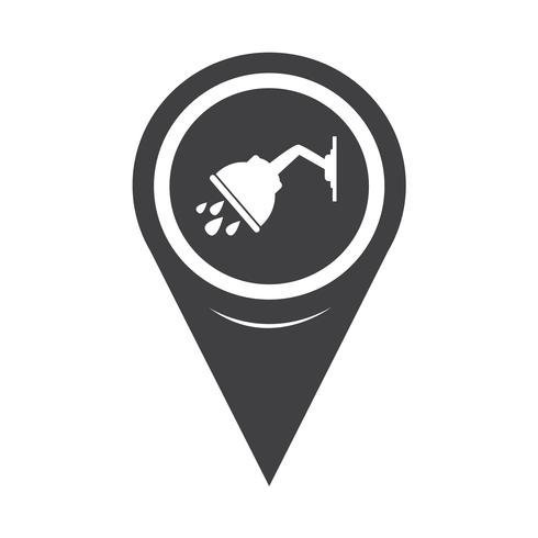 Map Pointer Shower Icon vector