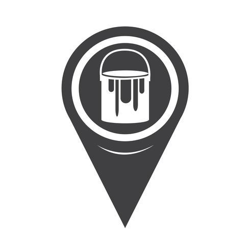 Mapa puntero pintura puede icono vector