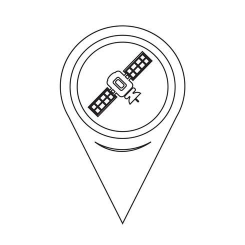 Carte Satellite Pointeur Icône vecteur
