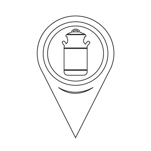 Map Pointer Milk Can Icon vector