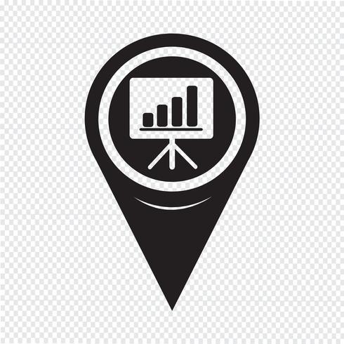 Map Pointer Presentation Board Icon vector