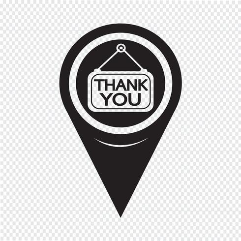 Map Pointer Thank You Icon vector