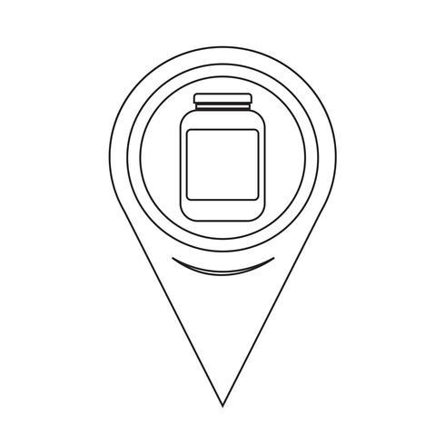 Map Pointer Jar Icon vector