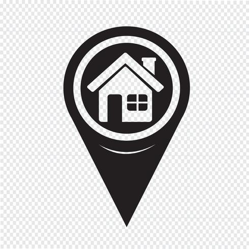 Map Pointer Home icon vector