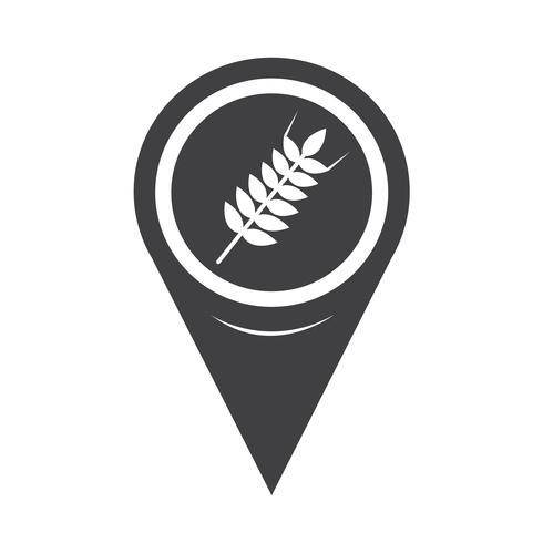 Map Pointer Wheat Ear Icon vector