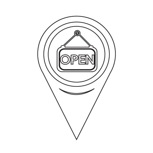 Map Pointer Open Icon vector