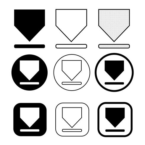 set of simple sign download icon vector