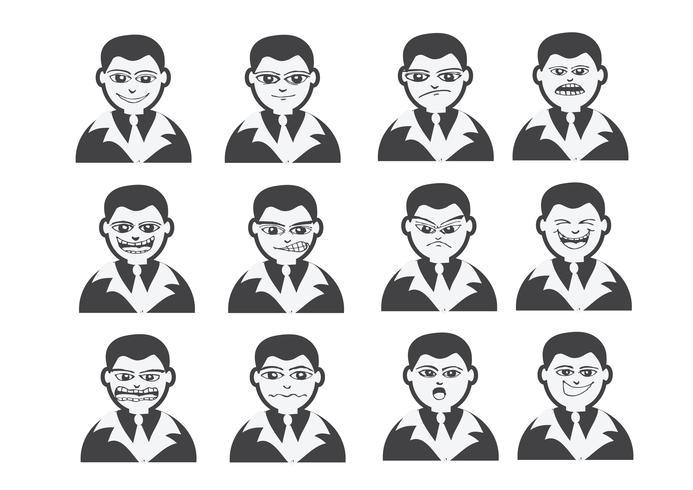 Tecknade ansikten Ställ tecknings illustration