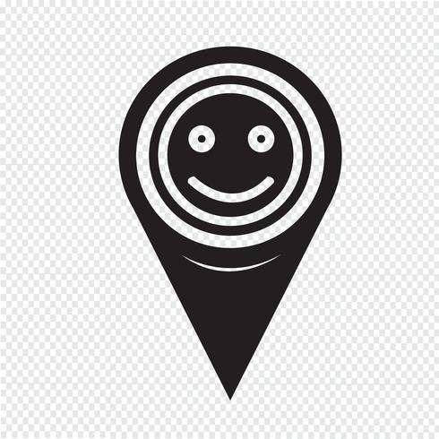 Mapa ponteiro sorriso ícone