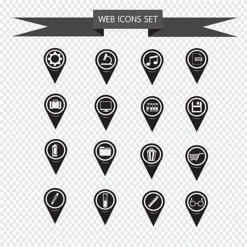 Set van kaart aanwijzer iconen voor website en communicatie