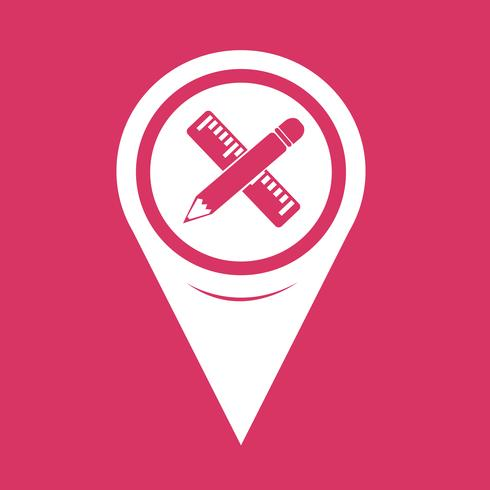 Map Pointer Pencil with ruler icon