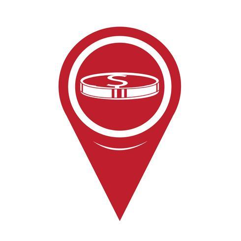 Icona mappa puntatore pin di denaro