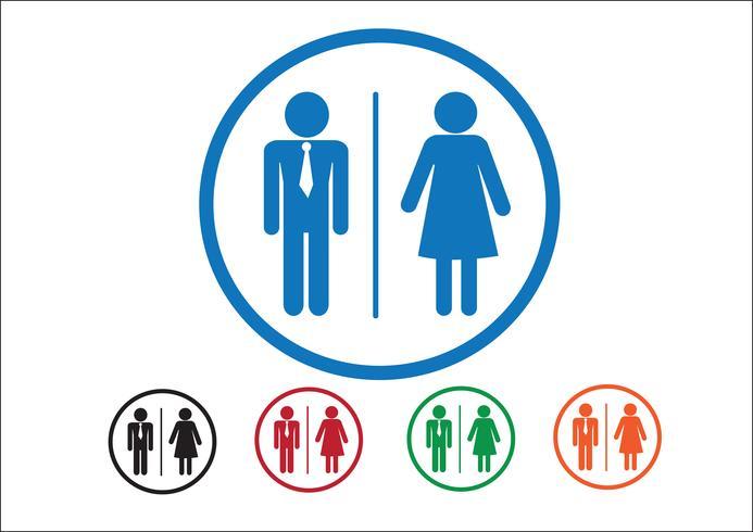 Pictograma hombre mujer muestra iconos, signo de baño o icono de baño vector