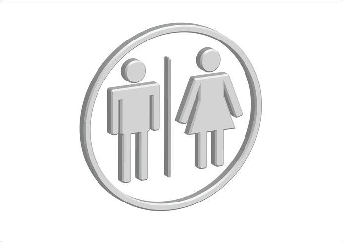 Mann-Frauen-Zeichenikonen des Piktogramm-3D, Toilettenzeichen oder Toilettenikone