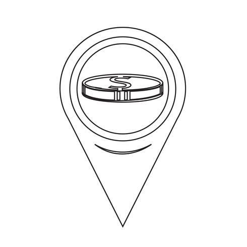 Map Pin Pointer Money icon vector