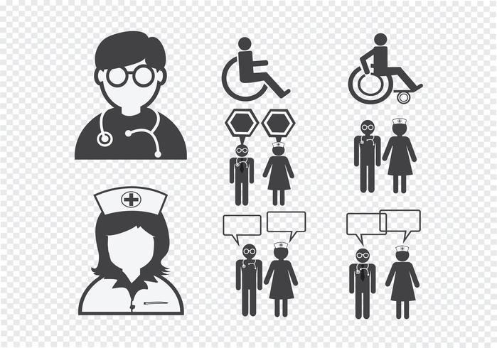 Doctor Nurse   Patient Sick Icon Sign Symbol Pictogram