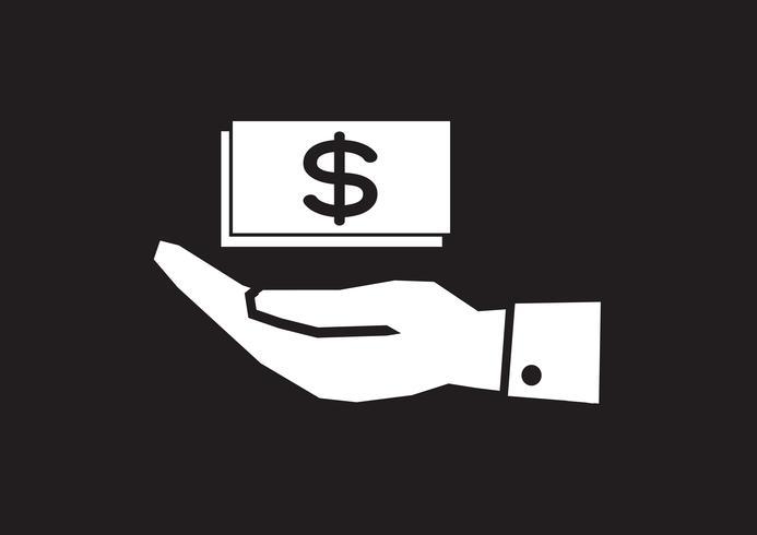 Icono de dólar de mano