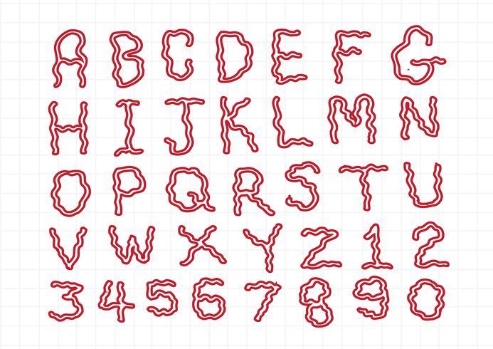Fuente de letras dibujadas mano escrita con una pluma vector