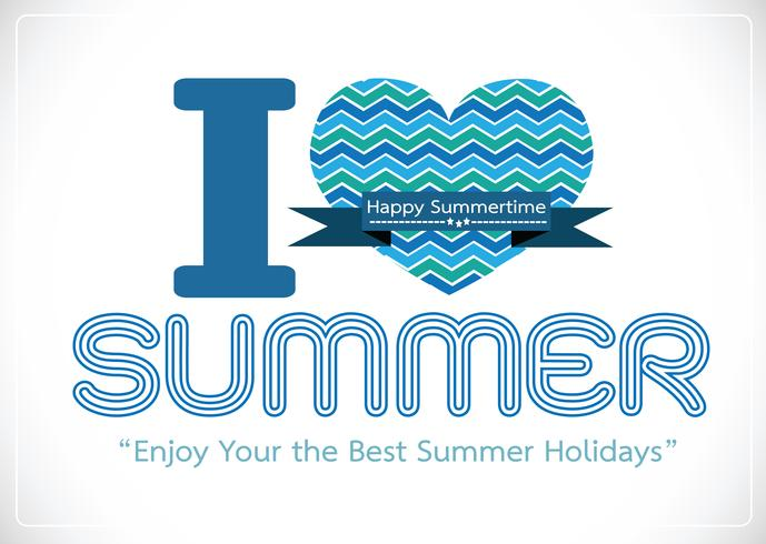 Eu amo o cartão de desenho de idéia de conceito de verão