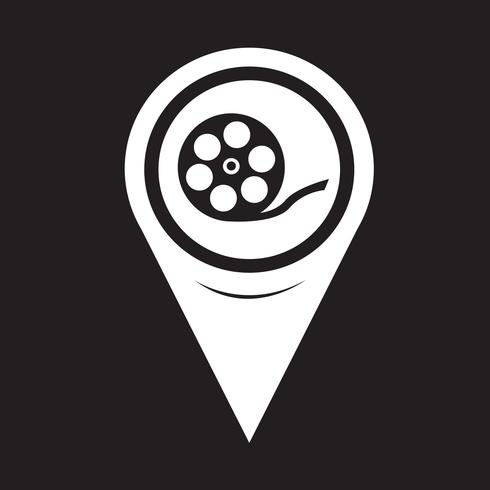 Ícone de rolo de filme de ponteiro de mapa