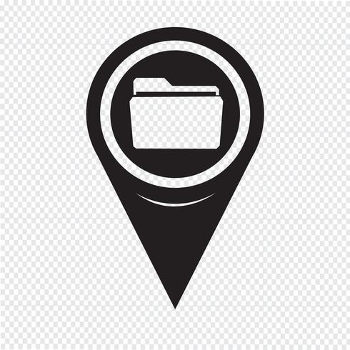 Icône de dossier de pointeur de carte