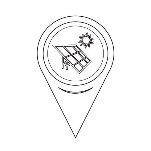 Map Pointer Solar Energy Icon vector