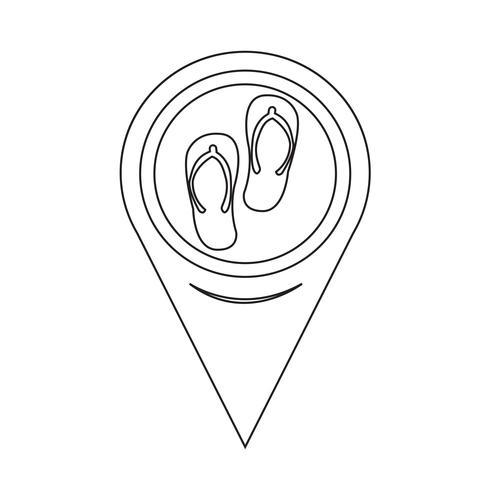 Icona di pantofole puntatore della mappa