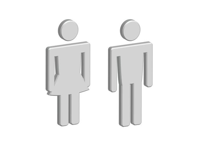 3D Pictogram Man Woman Sign icons, toilet sign or restroom icon vector