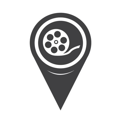Map Pointer Film Reel Icon vector
