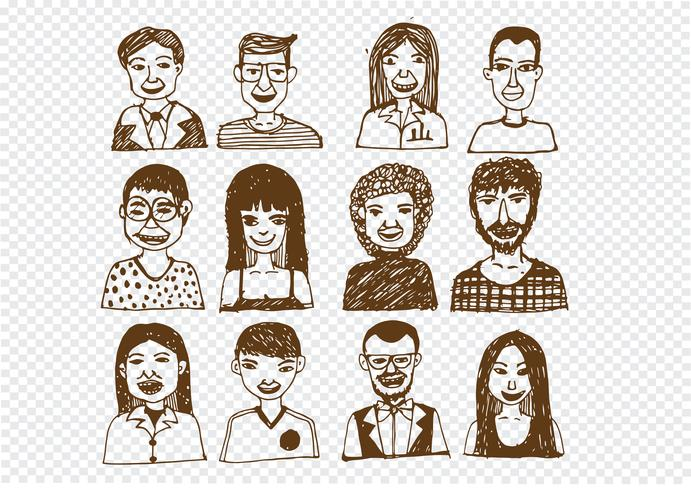 Set of people icons faces.  women, men character