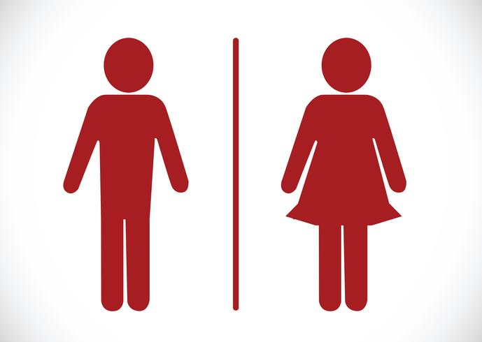 Icono de baño y pictograma hombre mujer signo vector