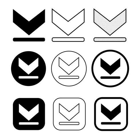 set di icone di download semplice segno