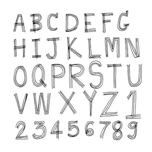 Fonte tipografica disegnata a mano delle lettere scritta con una penna