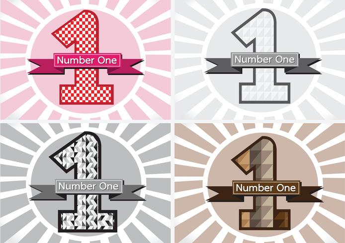 Number One and the Winner First Place sign simbol with ribbons vector
