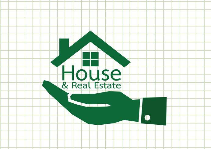 Hand and Home icon Real estate concept vector