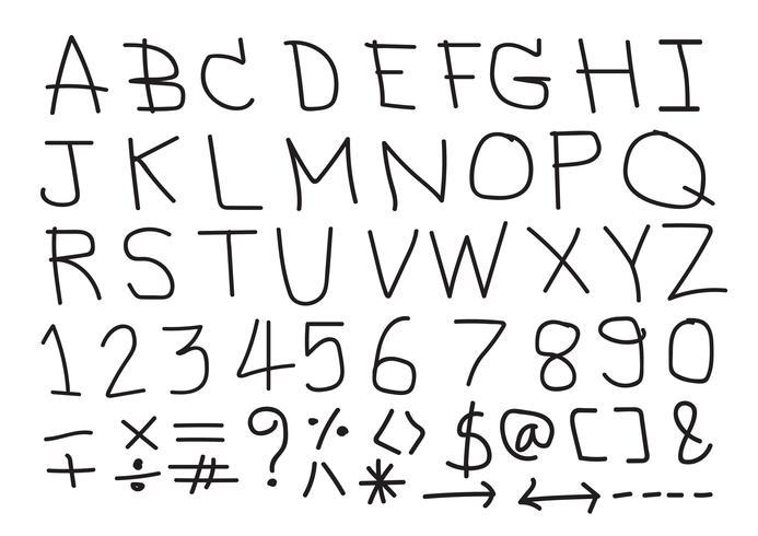 Fuente de letras dibujadas a mano vector