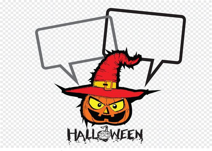 Tarjeta de Halloween con calabaza y hablando de burbujas de discurso