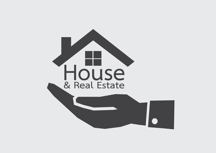 Icono de mano y hogar concepto de bienes raíces vector