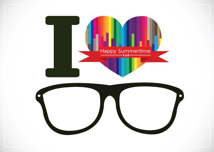 me encanta el verano con gafas de sol ilustración