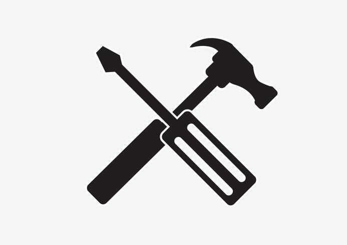 Verktyg och hammare-ikonen vektor