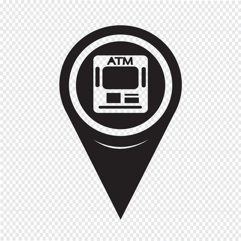 Mapa ponteiro ícone ATM vetor