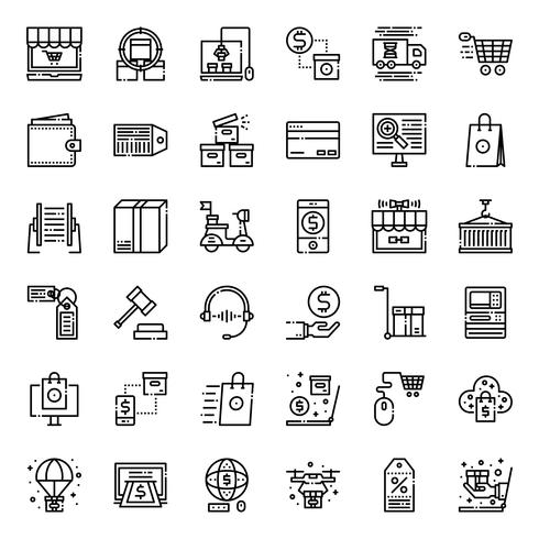 Online shopping outline icon vector