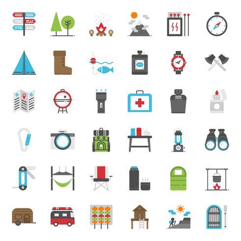 Icono de camping plana vector