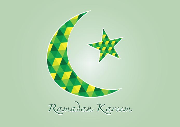 Ramadan Kareem Colorful moon and star for holy month of muslim vector