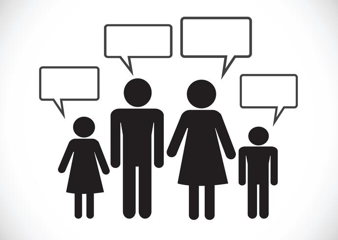 Pittogramma di conversazione di pensiero del segno di simbolo dell'icona di conversazione della gente dell'uomo