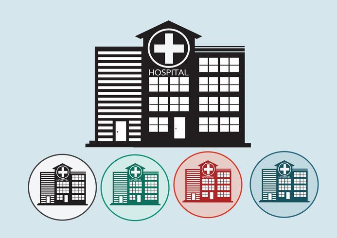 Diseño de icono de edificio de hospital en la ilustración