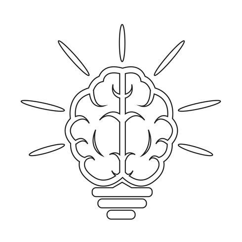 cervello Icona della lampadina vettore