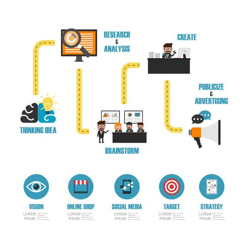 infographie marketing en ligne vecteur