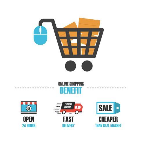 beneficio de la tienda en línea vector
