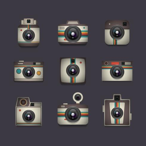 retro camera set vector